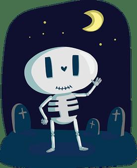 スケルトン、かわいい、骨、竹、幸せ、バージョン、10月、月