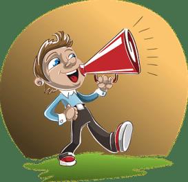 Loudspeaker, Man, Boy, Holding, Speaking