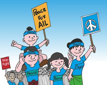 Protest, Peace, Cartoon, Burma