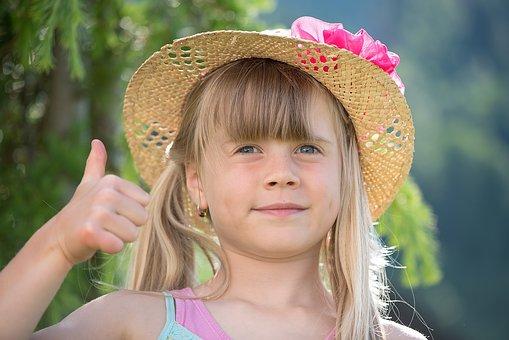 어린이, 소녀, 기운 내라, 엄지손가락, 금발의, 긴 머리, 모자