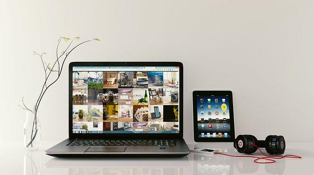 Laptop, Workstation, Browsing, Tablet