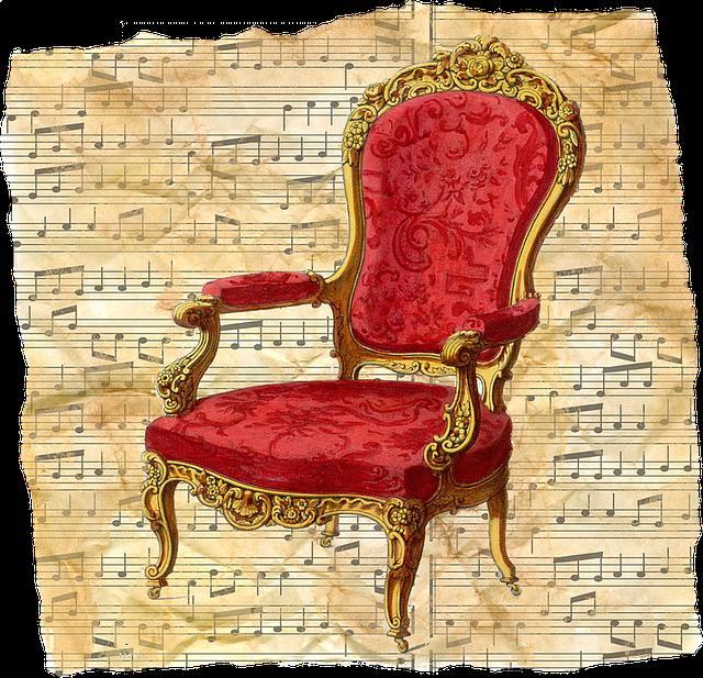 Free illustration Vintage Chair Red Music Sheet  Free