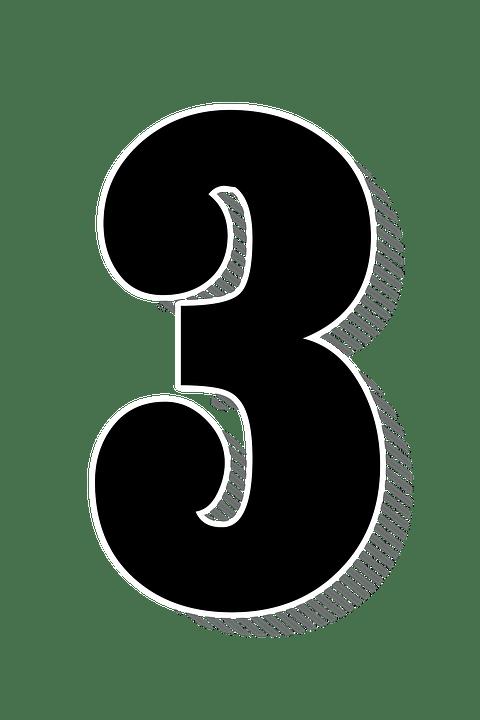 numbers three 3 drop
