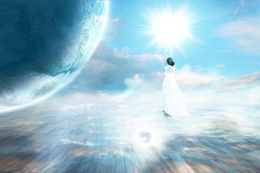 アセンション, 天体, 惑星, 天, 地球, 宇宙, 光, 神秘的です, 信念