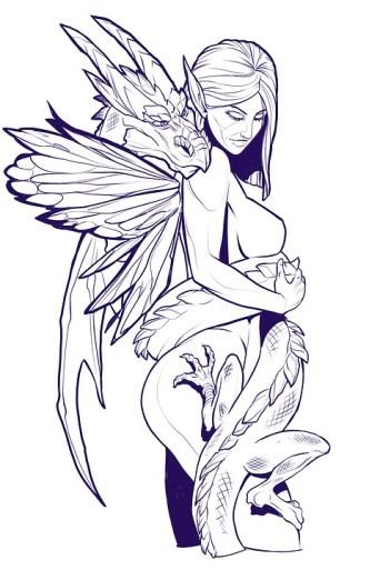 Fairy, Female, Dragon, Fantasy, Line-Art, Drawing