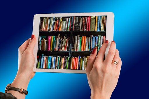 Tablet, Hände, Halten, Bücher, Computer