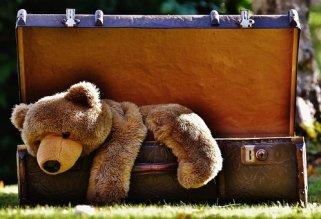 荷物, アンティーク, テディ, ぬいぐるみ, 動物のぬいぐるみ, おもちゃ