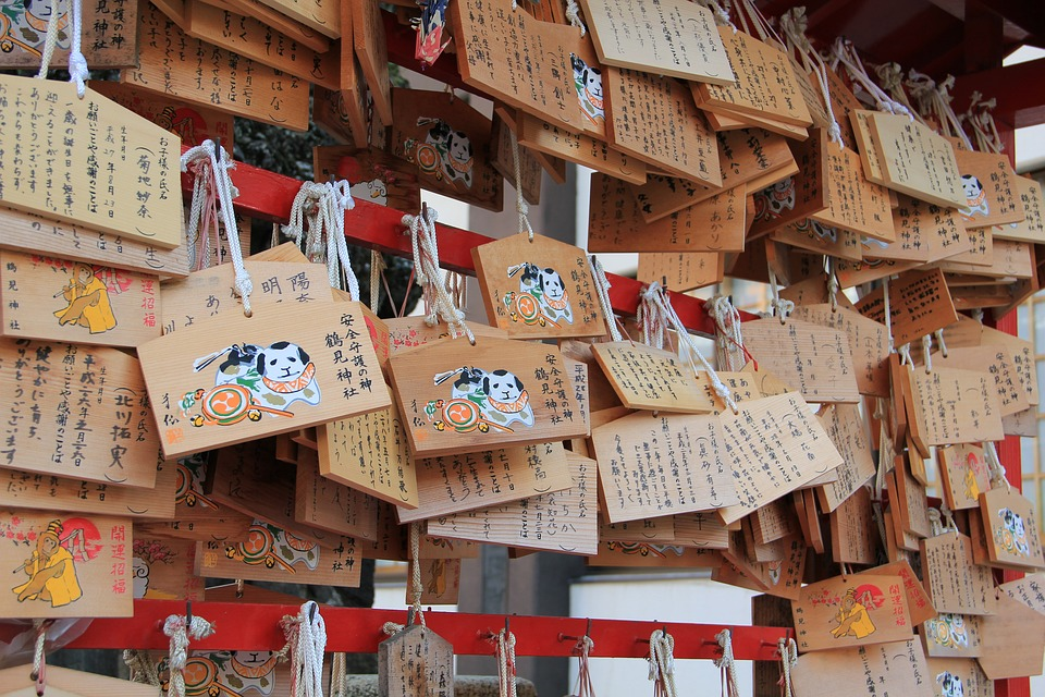 絵馬, 礼拝, 希望, 宗教, 木造, 日本, 神道, 伝統的な, プラーク, 文化, 信仰, 祈り, 欲望
