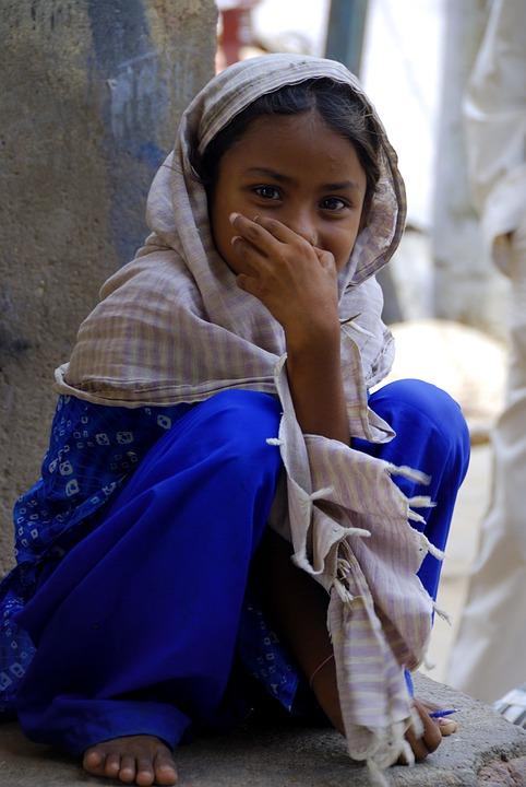 旅行, インド, 東, アジア, 女の子, 笑顔, 恥ずかしがり屋, 伝統的な, 顔