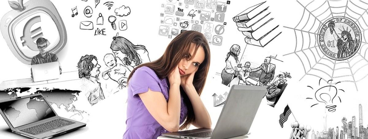Woman, Burnout, Multitasking, Face, Contour, Blank