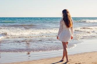 Young Woman, Beach, Dress, White Dress, Walking, Shore