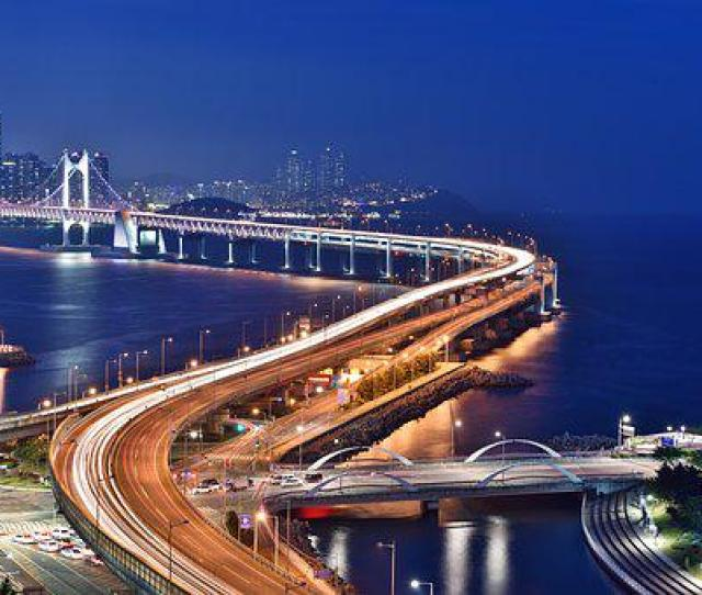 Busan Night Scene Bridge Busan Night