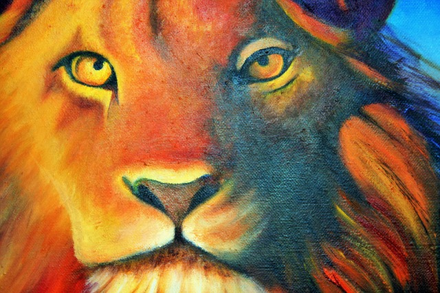 Lion In Oils Painting Canvas Free Image On Pixabay