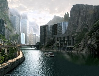 town river mountains futuristic heaven fantasy education pixabay towers higher five university paint
