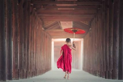 Paraplu, Eten, Asia, Bagan, Geloof, Jongen, Boeddha