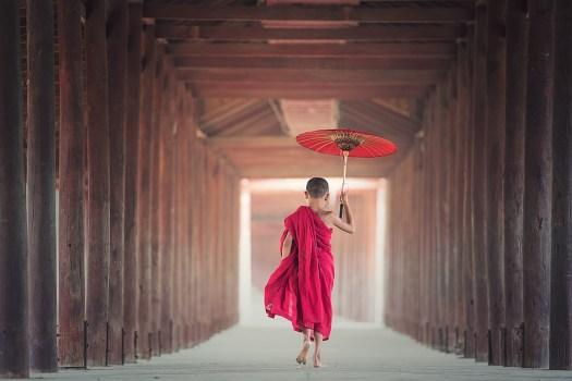 Ombrello, Buddhismo, Monaco, Monastero, Asia, Ragazzo