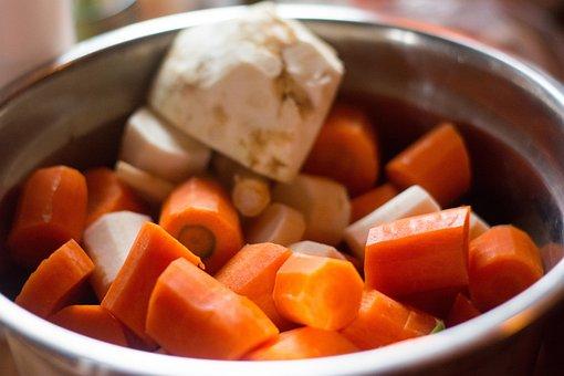ブロス, 野菜, ニンジン, セロリ, 食べる, さいの目に切ったニンジン