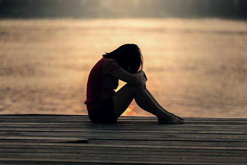 Girl, Sitting, Jetty, Docks, Sad