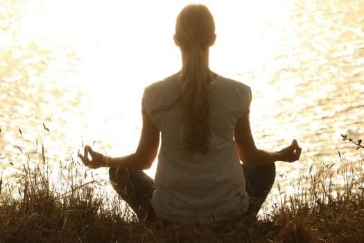 Meditare, Meditazione, Sereno, Silhouettes, Tramonto