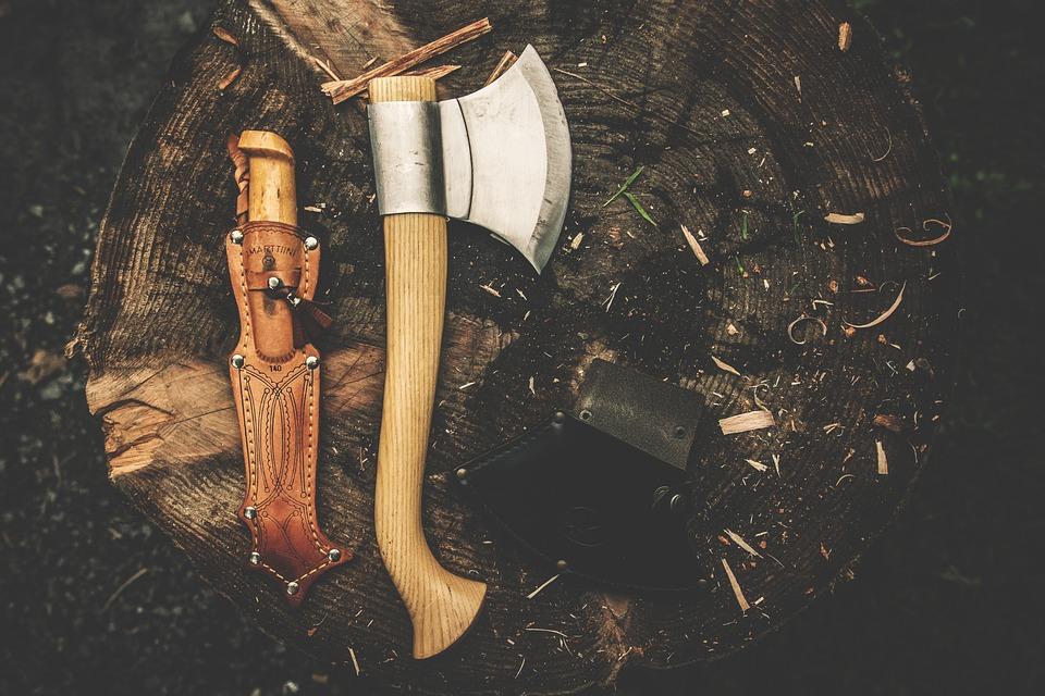 斧, Campingmesser, ナイフ, レトロ, ログイン, 武器