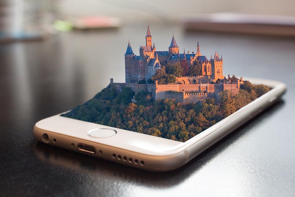 携帯電話, スマート フォン, 3 D, 操作, 画面, アプリ, 技術, 城, ホーエンツォレルン