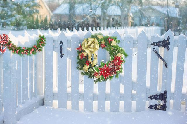 Animals In Snow Wallpaper Free Photo Christmas Wreath On Fence Fence Free Image