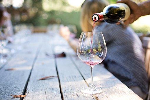 ワイン, ガラス, ドリンク, 試飲, 手, 夕食, 注ぐ, ナパ