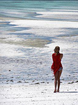 Beach, Woman, Sea, Walk On The Beach