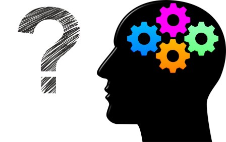 silhouette of a head with gears within it and looking at a question mark