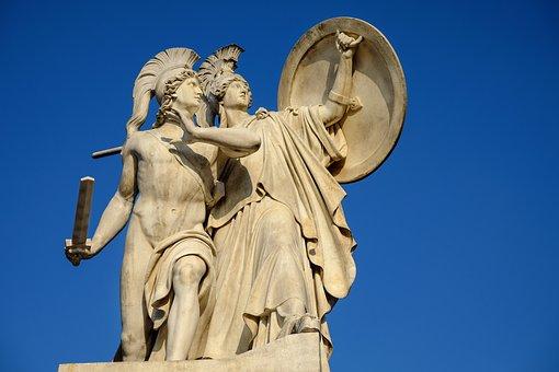 記念碑, 像, ギリシャの神々の数字, アテナ, 保護されています, 開催