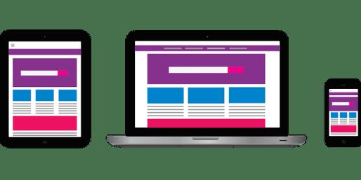Images showing websites on phone, tablet and desktop.