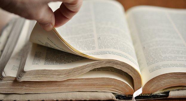 Buchseiten, Bibel, Blättern, Goldschnitt