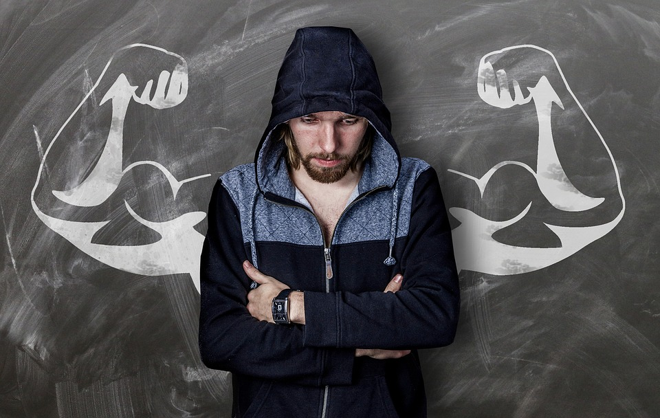 Man, Board, Drawing, Muscles, Strong, Weak, Chalk
