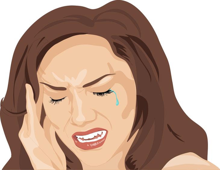 Dolor De Cabeza, Mujer, Triste, Llorar, Infeliz