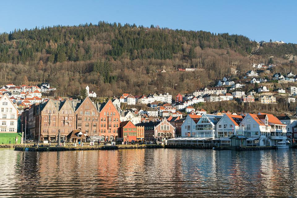 Bergen, Noruega, Arquitectura, Puerto, El Agua, Bryggen