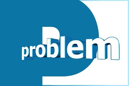 The letter P written in a big blue character and on it problem written in white