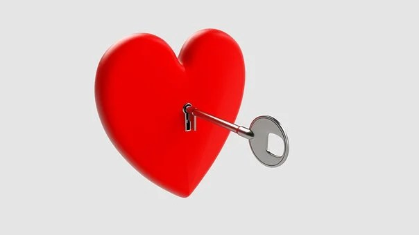 キー, 中心部, 愛, シンボル, バレンタイン, ロマンチック, ロック, 赤