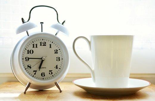 Alarm Clock, Cup, Morning, Drink