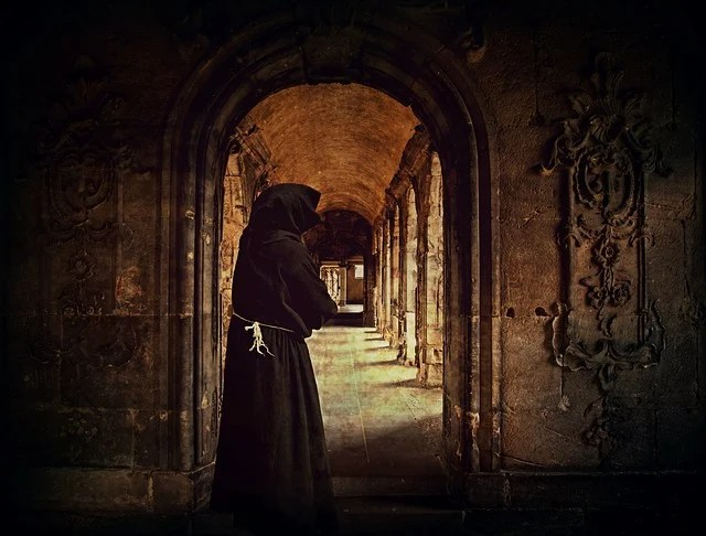 Fall Paintings Wallpaper Free Photo Monk Man Monastery Archway Cowl Free