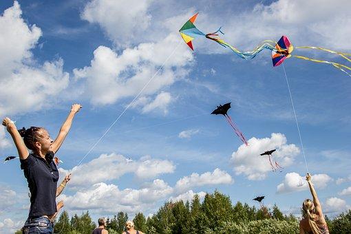 Kite, Kids, Girl, Smiles, Joy, Sky, Cute