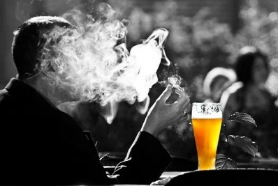 Man, Smoke, Beer, Wheat, Smoking