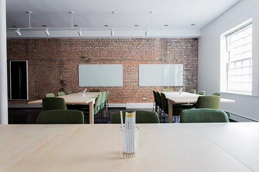 Bricks, Chairs, Classroom, Empty, Office