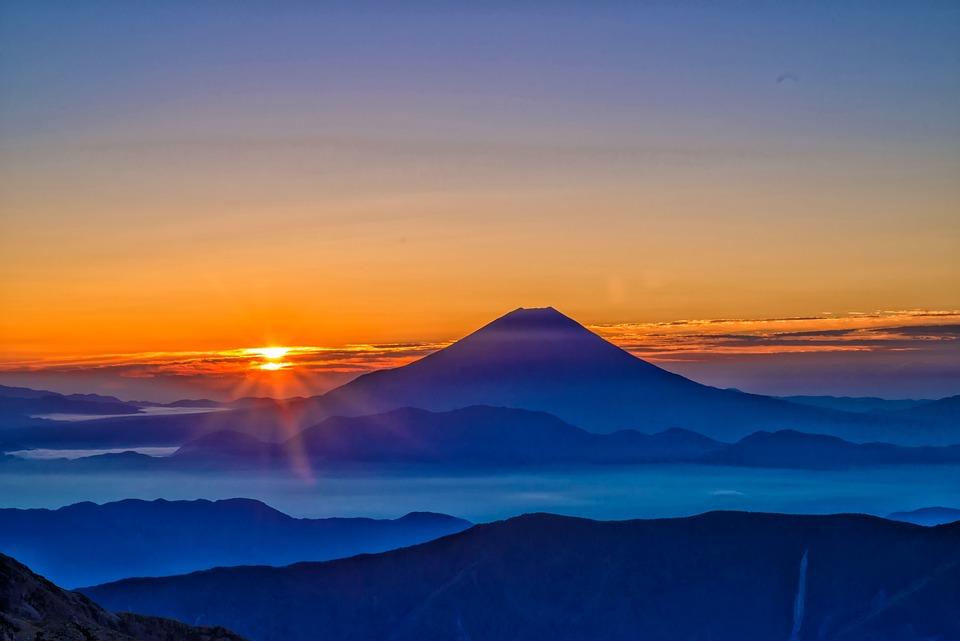 富士山, 日の出, 朝もや, 南アルプスから展望, 10月, 日本