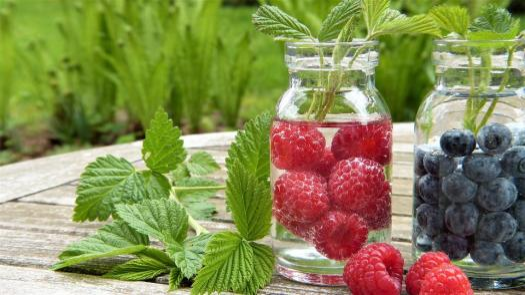 Acqua, Frutta, Lamponi, Mirtilli, Himbeerblätter