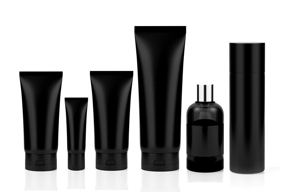 化粧品, 設定, 管, 香水, ボトル, 消臭剤, ブラック, モックアップを作成します, モックアップ