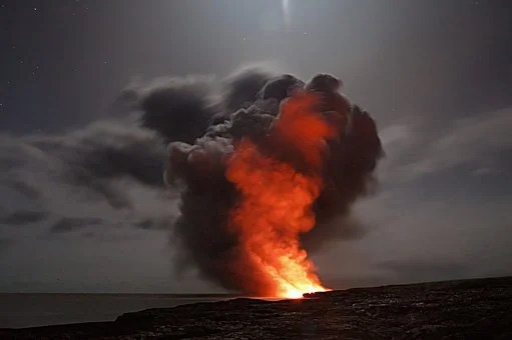 Volcano, Hawaii, Lava, Cloud, Ash, Water