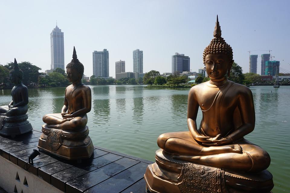 Statues, Buddha, Skyscrapers, Skyline, Buddhist, Temple