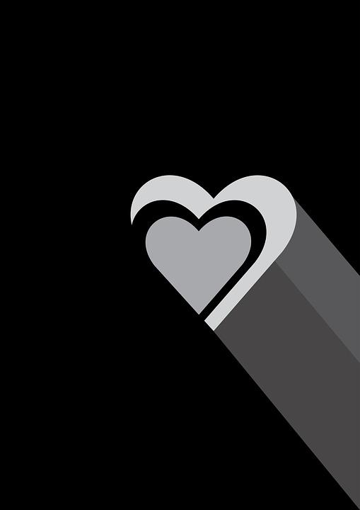 Gambar Hati Hitam Putih : gambar, hitam, putih, Jantung, Cinta, Hitam, Putih, Gambar, Gratis, Pixabay