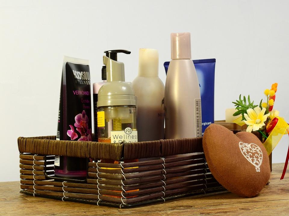 化粧品, ギフト, デコ, 装飾, 悪い, バスルーム, バスケット, クリーム, ハンド クリーム, 油