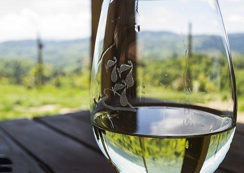 ワイン, ワインのガラス, 自然, 白ワイン, リラックス